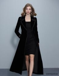 Womens Black Lapel Long Trench Full Length Velvet Parka Suit Collar Slim Coat