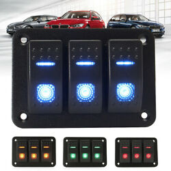 Waterproof 3 Gang USB Automotive Switch Panel LED Car Marine Boat Rocker 1224V