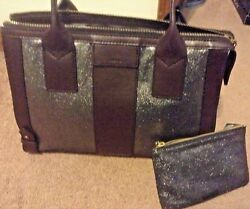 AUTHENTIC NEW NWT FOSSIL LEATHER  GWEN PEWTER SATCHEL BAG & keely wristlet lot