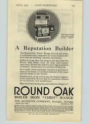 1923 Paper Ad Round Oak Boiler Iron Chef Range Cast Iron Stove Beckwith Co