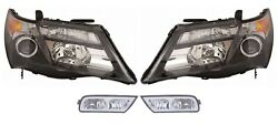 Left And Right Genuine Headlights Headlamps And Fog Lights Kit For Acura Mdx 10-13