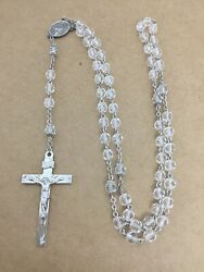 Vintage Sterling And Crystal Beads Catholic Rosary Mary Profile Jesus Crown Thorns