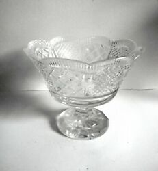 Waterford Heavy Cut Crystal Tall Art Glass Compote Or Center Bowl - Marked