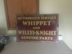 Willys Knight Whippet Sign Authorized Service Genuine Parts Original Porecelain