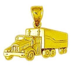14k Yellow Gold Trailer Truck Pendant / Charm Made In Usa