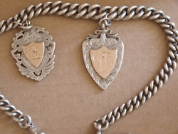 Antique 1899 London Albert Pocket Watch Chain Two Silver And Gold Medallions