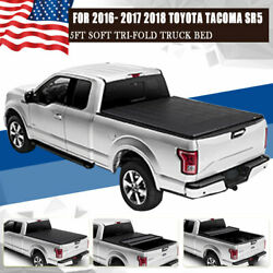 Soft Truck Bed Tonneau Cover For 2016 17 18 Toyota TacomaSR5 Pickup 5' Tri-Fold