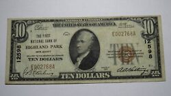 10 1929 Highland Park New Jersey Nj National Currency Bank Note Bill 12598 Vf+