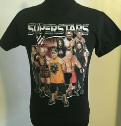 WWE SuperStars Large Tee Shirt Black cotton CenaReignsRollins Official 2016