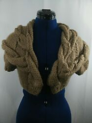STELLA MCCARTNEY Chunky Cable Knit Crop Cardigan Sweater Wool Bl Camel XS S