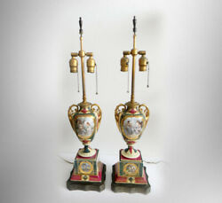Royal Vienna Pair Of Tall Urn Lamps With Gold Accents - Beautiful Scenes