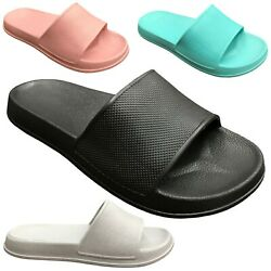 NEW Womens Slide Sandals Solid Colored Soft Rubber Slip On Flops Shoe S