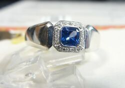 Ladies Rings 18kt White Gold Diamond And Sapphire Fashion Jewelry Free Shipping