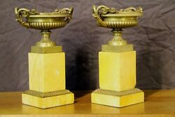 Antique French Empire Sienna Marble Bronze Urns Vase Neoclassical Tazza Original