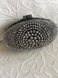 Cache Beaded Silver Evening Bag Excellent Condition $70.00