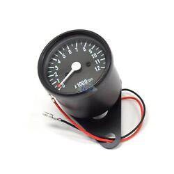 Mini Tach With Clamp Universal Black Motorcycle Mechanical Tachometer Gauge 15