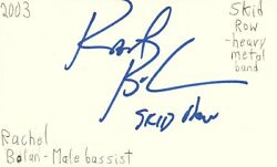 Rachel Bolan Bassist Skid Row Rock Band Music Autographed Signed Index Card