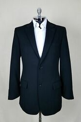Club Room Mens Black Wool, Silk And Cashmere 2 Button 1 Vent Sportcoat Size 38 L