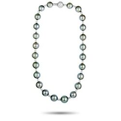 Chanel (Est.) Chanel 18K White Gold Diamond and Tahitian Black Pearls Necklace