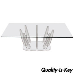 Mid Century Modern Sculptural Lucite And Glass Rectangular Fingers Coffee Table