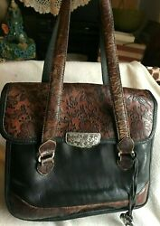 Brighton Marseille Fiore French Tooled Floral Flowered Vintage Leather Handbag