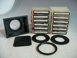 12- Ambico Square Filters In Original Jeweled Cases W/holder/hood And 4-rings 68