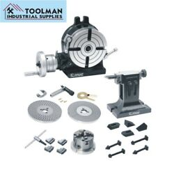 Rotary Table 8 /200 Mm Dividing Plate Set Tail Stock 4 Jaw Chuck And Clamping Kit