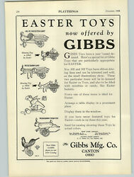 1928 Paper Ad Gibbs Toy Co Canton Ohio Easter Bunny Rooster Cart Push Toys
