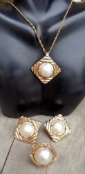 14k gold retro ribbed 17.25mm Mabe pearl earrings pendant ring set 19.6 grams