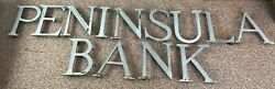 """18"""" Antique 1880's Brass Bronze Architecture Letters Sign Peninsula Bank Gas Oil"""