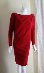 Jitrois Paris Sz 36 4/6 Red Fine Bateau Fitted Sexy Suede Leather Wiggle Dress