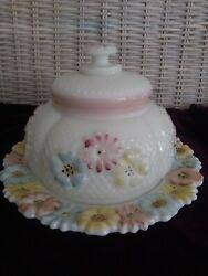 Eapg Milk Glass Butterdish Cosmos Pattern Consolidated Glass And Lamp Co 1902