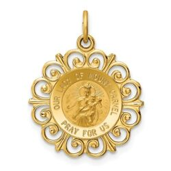 14k 14kt Yellow Gold Our Lady Of Mt. Carmel Medal Charm 24mm X 19mm