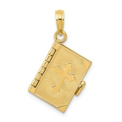 14k 14kt Yellow Gold Lords Prayer Bible Pendant 25mm X 11mm