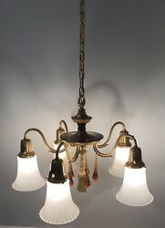 Quality Early Antique Yellow Brass Patina 5 Light Fixture Newly Wired Chandelier