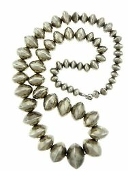 Large Sterling Silver Bench Beads 27 Necklace