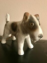 antique French porcelain fox terrier night light