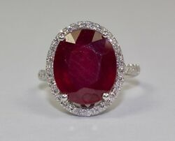14k White Gold Oval Red Ruby And White Round Diamond Single Halo Ring Size 6.5