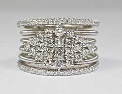 14k White Gold White Round Diamond Rope Coil Cable Designed Ring Size 7.75