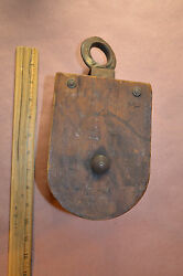 Vintage Wood And Iron Farm Pulley Antique Old Tools 1331