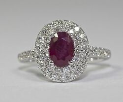 14k White Gold Oval Shaped Red Ruby And White Diamond Double Halo Ring Size 7