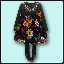 Catimini Gorgeous Spirit Black Floral Dress And Tights Set 5a 5 108 Holiday