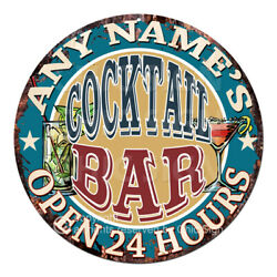 Cp-0147 Any Name's Cocktail Bar Custom Personalized Tin Sign Decor Gift Ideas