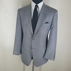 Brooks Brothers Made In Italy 100 Wool Sport Coat 2 Btn Center Vent 45 Reg