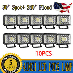 10PCS 4Inch 2480W LED Pods Work Light Bar Side Shooter Offroad Truck SUV 4WD ATV