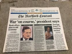 The Hartford Courant Newspaper- Jan. 30, 1991 War On Course President Says