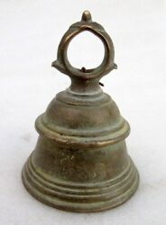 Vintage Asian Indian Old Hand Crafted Brass Hindu Temple Use Worship Small Bell