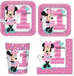Minnie Mouse 1st Birthday Tableware Combo For 8 Guests Plates Cups Napkins