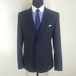 Shipley And Halmos Recent Blue Blazer 100 Wool 2 Btn Center Vent 44 R --mint