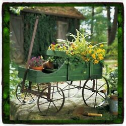 Patio Wood Wagon Showcase Plant Stand Cart Vintage Wrought Metal And Old Wood Look
